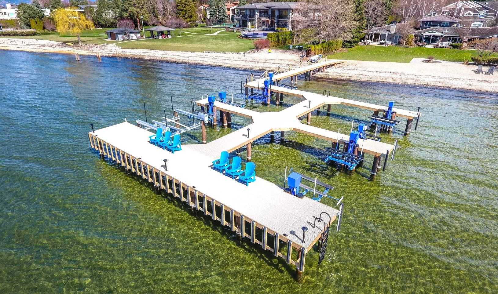 Residential boat lifts on dock