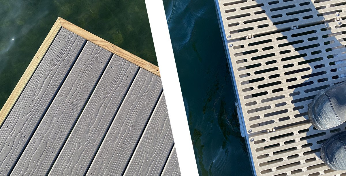Shoreline premium aluminum boat dock decking options.