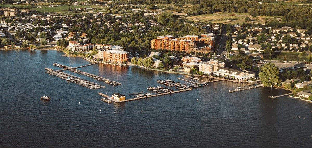 Aerial view of Manteo Resort and Eldorado Hotel - Shoreline Pile Driving