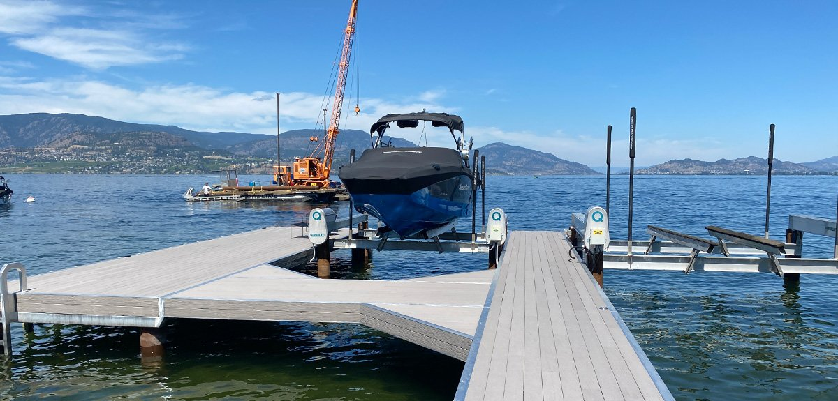 Shoreline Pile Driving features Kelowna Dock build and boat lift accessories